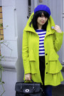 Lime-green-with-ruffles-dorothy-perkins-coat-navy-h-m-hat-black-satchel-bag-