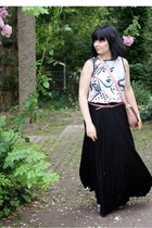 ivory Promod blouse - light pink bag - black maxi skirt