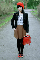 red vintage bag - red vintage bag - dark brown Zara skirt - white tk top