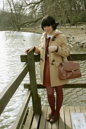 nude duffle c&a coat - tawny Topshop bag - brick red Zara cardigan - tawny Zara