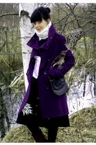 purple H&M jacket - purple vintage shoes - black vintage bag - white H&M vest