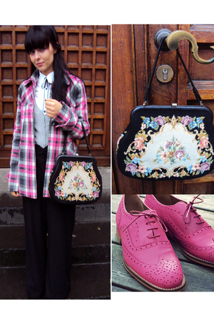 pink c&a coat - pink Topshop shoes - black vintage bag - white troll blouse