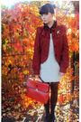 Red-bag-red-topshop-jacket-beige-dress-beige-vintage-accessories-black-t