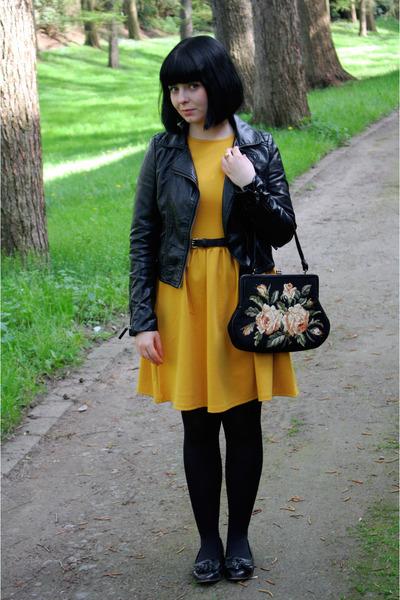 black with roses vintage bag - mustard coat - black Topshop loafers