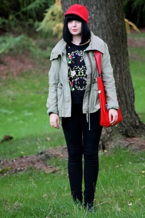 red Topshop hat - olive green Topshop jacket