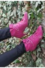 Hot-pink-vintage-boots-forest-green-oversized-zara-coat-hot-pink-vintage-bag