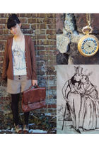 brown no name cardigan - brown Deichmann shoes - brown purse - white troll t-shi