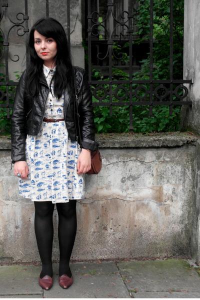 toile Atmosphere dress - biker H&M jacket - vintage loafers