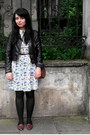 Toile-atmosphere-dress-biker-h-m-jacket-vintage-loafers