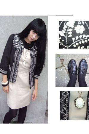black Atmos blazer - beige vintage dress dress - beige H&M necklace - black Tops