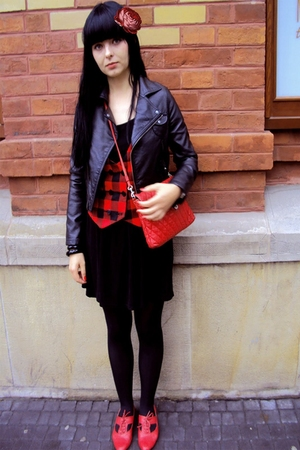 red office london shoes - black Topshop dress - black H&M jacket