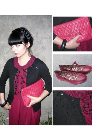 pink Atmosphere dress - pink Moonsun shoes - black H&M cardigan - black Vero Mod