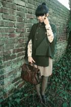 nude Zara blouse - dark green Zara cape - crimson vintage flats