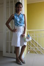 Turquoise-blue-printed-top-white-plain-skirt