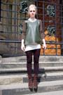 Dark-brown-suede-geox-shoes-off-white-cream-sheinside-dress