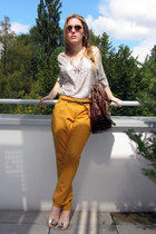 mustard cotton Miss London pants - brown studded Guess bag