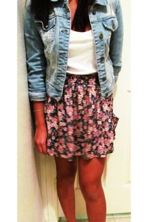 floral skirt Zara skirt - denim jacket Forever 21 jacket
