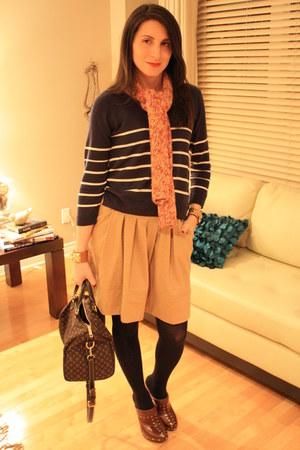 camel Zara skirt - H&M top - Michael Kors heels