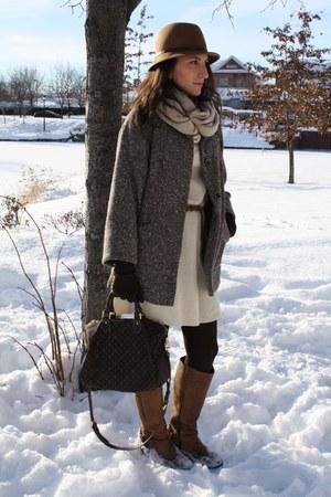 Zara jacket - BCBG dress - Aldo boots - Louis Vuitton bag
