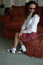 White-thrifted-blouse-red-forever-21-skirt-white-thrifted-socks-black-will