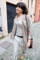 beige H&M coat - gold Zary shoes - beige H&M pants - brown vintage accessories
