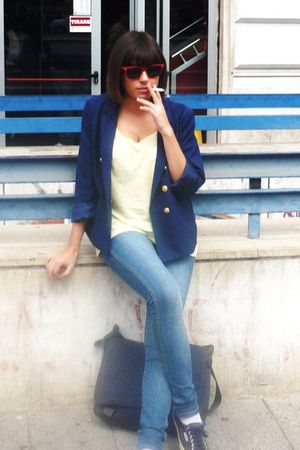 blue H&M blazer - yellow H&M vest - blue H&M jeans - blue Lacoste accessories -