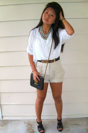 blue Forever 21 necklace - white Forever 21 shirt - beige H&M shorts - black Ste