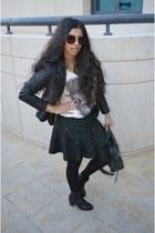 Zara skirt - black River Island boots - leather jacket Zara jacket