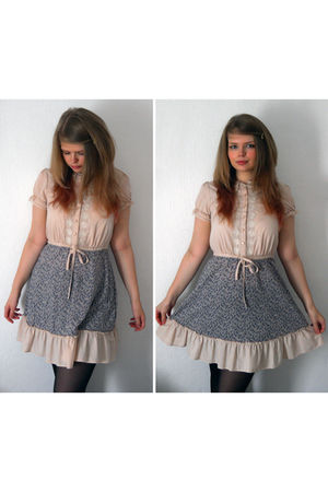 pink asos dress - black Primark tights - white asos necklace