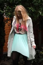 heather gray Primark coat - off white Primark t-shirt - light blue Matalan skirt
