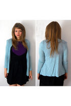 blue H&M cardigan - black Gino NV dress - purple Primark t-shirt