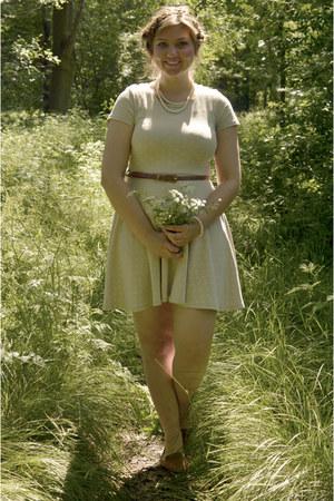 bronze loafers - silver dress - bronze belt - white necklace - white bracelet