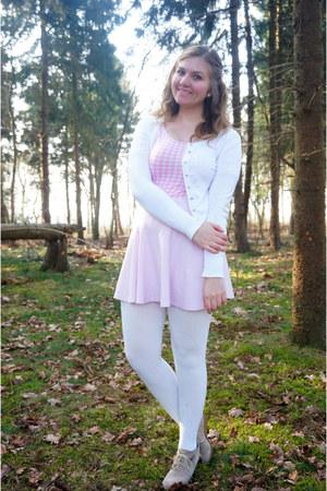 white cardigan - light pink skirt - bubble gum bodysuit - beige wedges