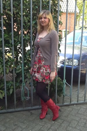 red boots - red dress - black tights - dark khaki cardigan