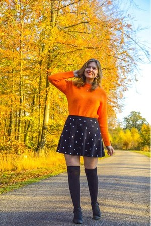 black boots - orange sweater - black over the knee socks - black skirt