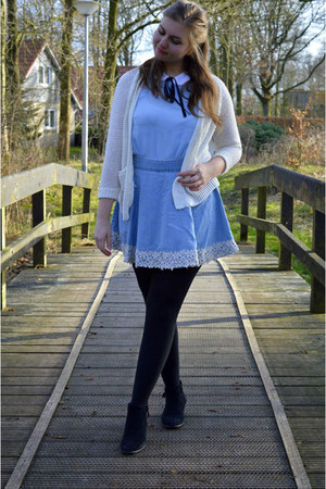 black boots - light blue top - sky blue skirt - white cardigan
