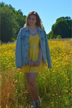 yellow dress - sky blue denim jacket - white pumps - white belt - white necklace