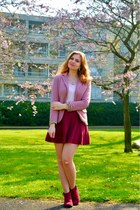 maroon boots - pink blazer - light pink top - maroon skirt - light pink necklace