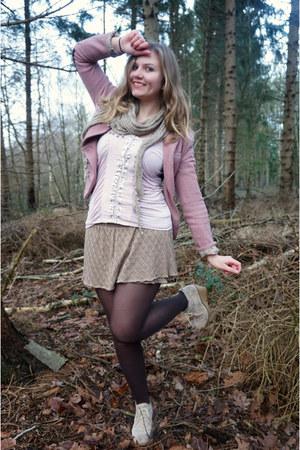 pink blazer - dark brown tights - tan scarf - light brown skirt - light pink top