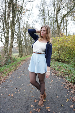 brown boots - light blue skirt - white lace top - brown belt - navy cardigan