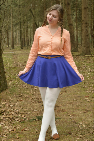 white tights - blue skirt - brown belt - brown loafers - nude blouse
