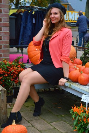 black boots - black dress - black hat - carrot orange blazer - black necklace