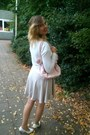Silver-dress-light-pink-bag-white-cardigan-light-pink-belt-white-pumps