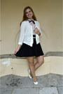 Black-dress-white-cardigan-light-pink-blouse-white-pumps-white-belt