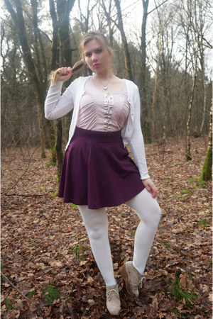 white tights - light pink top - magenta skirt - white cardigan - beige wedges