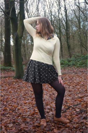 light yellow sweater - bronze shoes - black dress