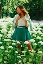 aquamarine blazer - green skirt - white top - white belt - white bracelet