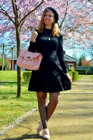 black dress - black hat - black floral tights - light pink purse