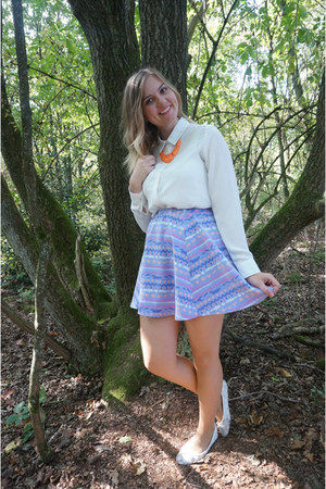 light purple aztec skirt - white blouse - light orange statement necklace
