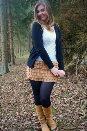 bronze boots - bronze skirt - white lace top - black cardigan - gold necklace